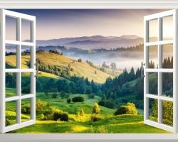 Mẫu tranh dán tường cửa sổ mã: 01
