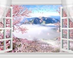 Mẫu tranh dán tường cửa sổ mã: 09
