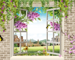 Mẫu tranh dán tường cửa sổ mã: 17