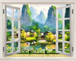Mẫu tranh dán tường cửa sổ mã: 28