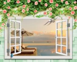 Mẫu tranh dán tường cửa sổ mã: 32