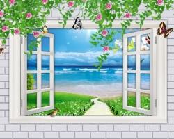 Mẫu tranh dán tường cửa sổ mã: 61