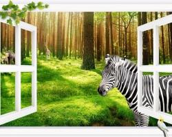 Mẫu tranh dán tường cửa sổ mã: 67