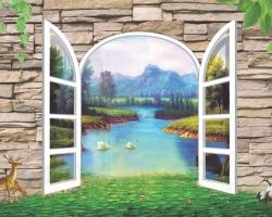 Mẫu tranh dán tường cửa sổ mã: 88