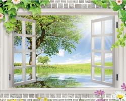 Mẫu tranh dán tường cửa sổ mã: 91