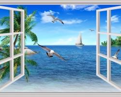 Mẫu tranh dán tường cửa sổ mã: 92