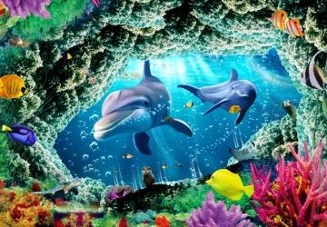 Mẫu tranh dán tường cảnh biển mã:100