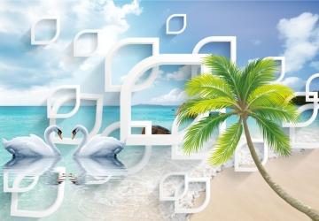 Mẫu tranh dán tường cảnh biển mã:28