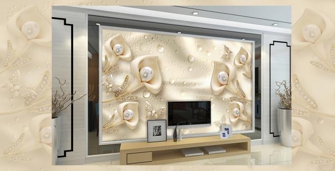 Tranh vải kim tuyến in 3D dán tường theo yêu cầu giá rẻ tphcm