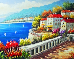 Mẫu tranh sơn dầu làng quê Châu Âu: 005TCA