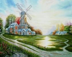Mẫu tranh sơn dầu làng quê Châu Âu: 007TCA