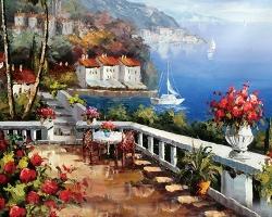 Mẫu tranh sơn dầu làng quê Châu Âu: 017TCA