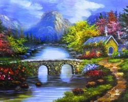 Mẫu tranh sơn dầu làng quê Châu Âu: 021TCA