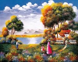 Mẫu tranh sơn dầu làng quê Châu Âu: YPT2