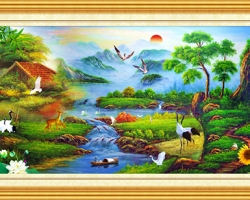 Mẫu tranh sơn dầu làng quê Châu Âu: 026TCA