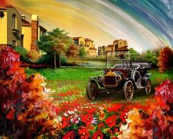 Mẫu tranh sơn dầu làng quê Châu Âu: 028TCA