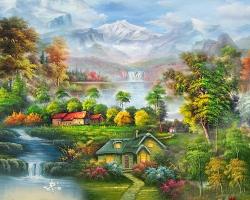 Mẫu tranh sơn dầu làng quê Châu Âu: 030TCA