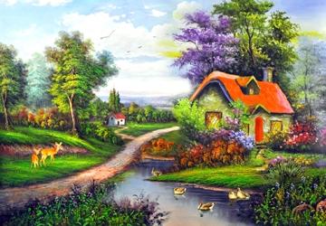 Mẫu tranh sơn dầu làng quê Châu Âu: 034TCA