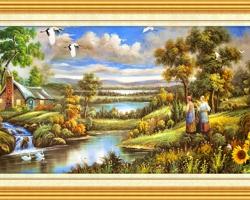 Mẫu tranh sơn dầu làng quê Châu Âu: 036TCA