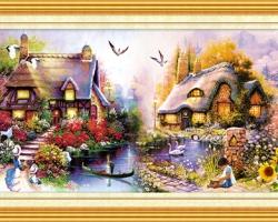 Mẫu tranh sơn dầu làng quê Châu Âu: 038TCA