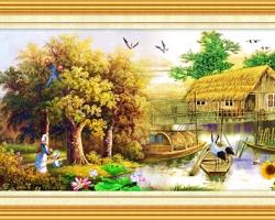 Mẫu tranh sơn dầu làng quê Châu Âu: 039TCA