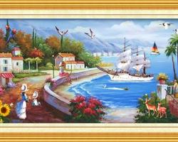 Mẫu tranh sơn dầu làng quê Châu Âu: 040TCA