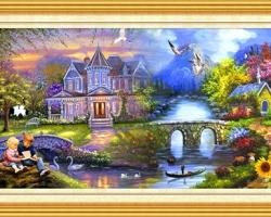 Mẫu tranh sơn dầu làng quê Châu Âu: 044TCA