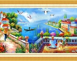 Mẫu tranh sơn dầu làng quê Châu Âu: 045TCA