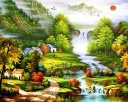 Mẫu tranh sơn dầu làng quê Châu Âu: 050TCA