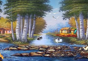 Mẫu tranh sơn dầu làng quê Châu Âu: 055TCA