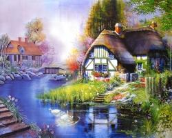 Mẫu tranh sơn dầu làng quê Châu Âu: 059TCA