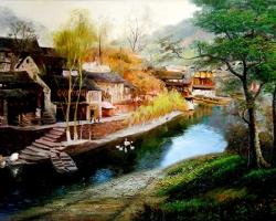 Mẫu tranh sơn dầu làng quê Châu Âu: 067TCA