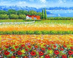 Mẫu tranh sơn dầu làng quê Châu Âu: 070TCA