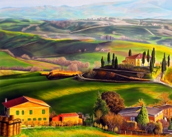 Mẫu tranh sơn dầu làng quê Châu Âu: 072TCA