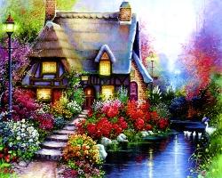 Mẫu tranh sơn dầu làng quê Châu Âu: 089TCA