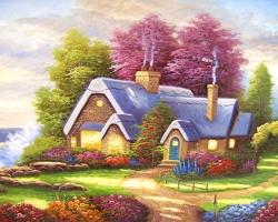 Mẫu tranh sơn dầu làng quê Châu Âu: 090TCA