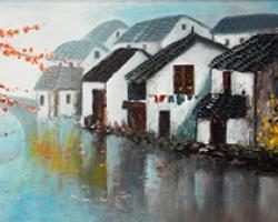 Mẫu tranh sơn dầu làng quê Châu Âu: 093TCA
