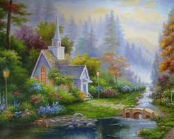 Mẫu tranh sơn dầu làng quê Châu Âu: 099TCA