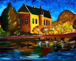 Mẫu tranh sơn dầu làng quê Châu Âu: 110TCA