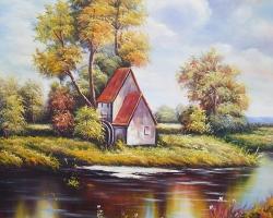 Mẫu tranh sơn dầu làng quê Châu Âu: 111TCA
