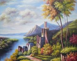 Mẫu tranh sơn dầu làng quê Châu Âu: 113TCA