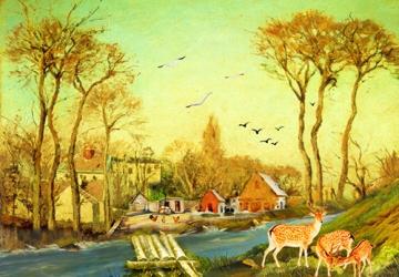 Mẫu tranh sơn dầu làng quê Châu Âu: 115TCA