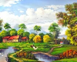 Mẫu tranh sơn dầu làng quê Châu Âu: 118TCA