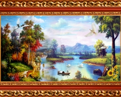 Mẫu tranh sơn dầu làng quê Châu Âu: 122TCA