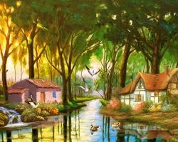 Mẫu tranh sơn dầu làng quê Châu Âu: 123TCA