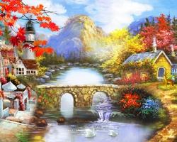 Mẫu tranh sơn dầu làng quê Châu Âu: 124TCA