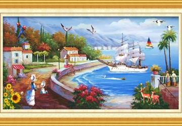Mẫu tranh sơn dầu làng quê Châu Âu: 128TCA