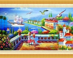 Mẫu tranh sơn dầu làng quê Châu Âu: 129TCA