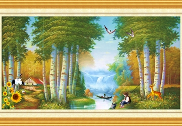 Mẫu tranh sơn dầu làng quê Châu Âu: 130TCA