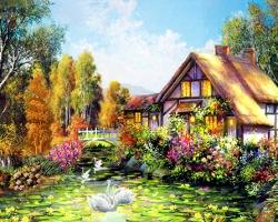 Mẫu tranh sơn dầu làng quê Châu Âu: 131TCA